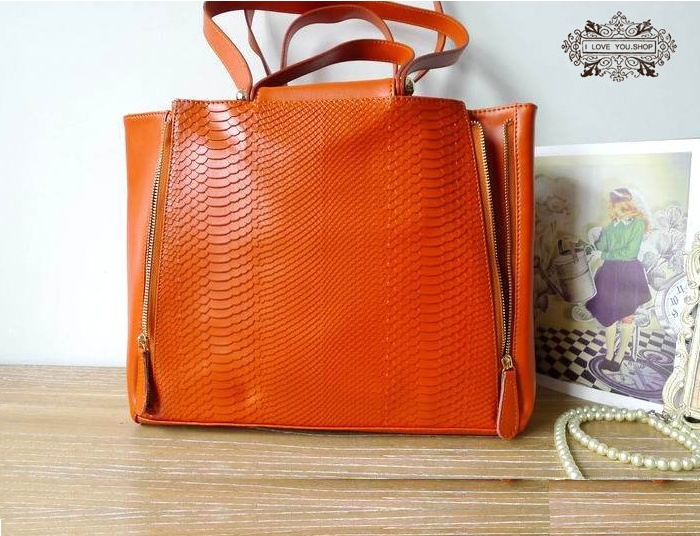 Cute Orange Hand Stitched Leather Tote ONLY £90 #gifts #fashion