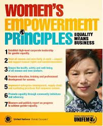 The Women's Empowerment Principles offer guidance to companies on how to empower women in the workplace, marketplace and community. https://www.unglobalcompact.org/issues/human_rights/equality_means_business.html