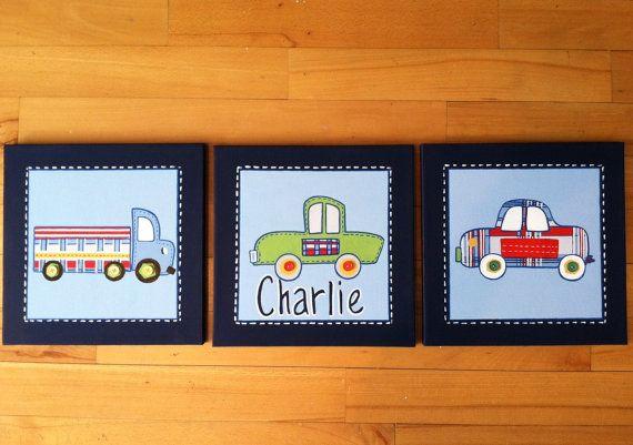 3 pc Patrick car and truck canvas art set for by CuteAsAButtonArt, $89.00