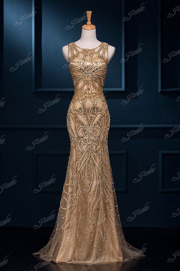 Beading Sequined Scoop Neck Sweetheart Sleeveless Mermaid Prom Dress DZSW600040