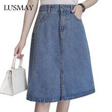 5XL Más Tamaño Denim Faldas Para Mujer 2017 Moda de Cintura Alta Jeans Ropa de Muy Buen Gusto Ocasional de Una Línea de Falda de Las Mujeres Falda de La Rodilla longitud(China)