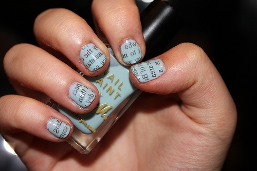 Love this, wet nails with newspaper rolled over it. Found on Stumbleupon.com