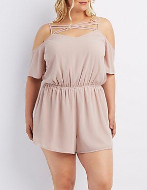Plus Size Cold Shoulder Romper