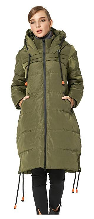 8bdf832ae198 Orolay Women's Thickened Contrast Color Drawstring Down Jacket Hooded  ArmyGreen 2XLwomen fashion women fashion accessories, women fas…