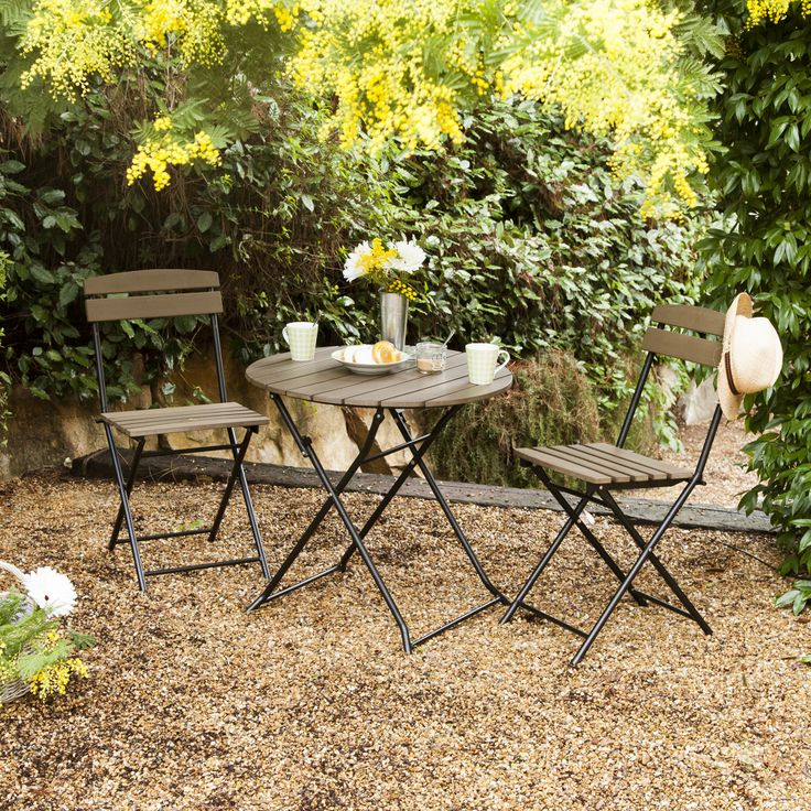 Salon jardin ou balcon pliant 2 : table ronde + 2 chaises MARTY ...