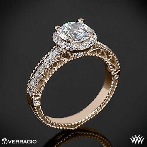 20k Rose Gold Verragio Beaded Pave Diamond Engagement Ring