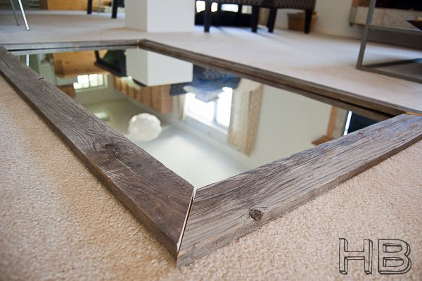 Diy reclaimed wood floor mirror made from a giant bathroom for Homemade mirror frame ideas