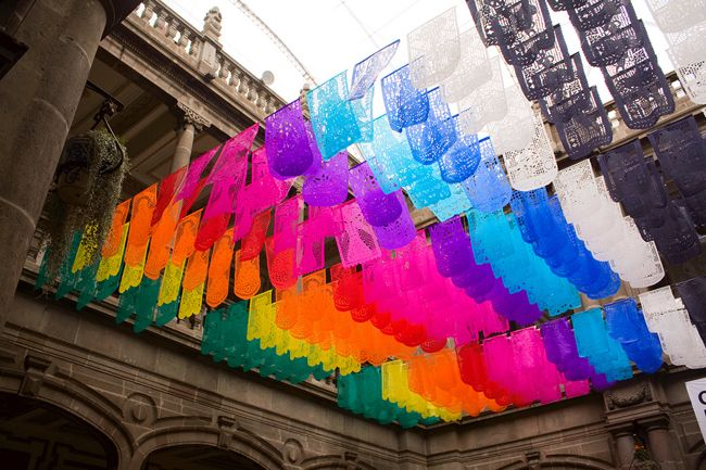 """Papel Picado, a Mexican festive decoration that translates into """"perforated paper""""."""