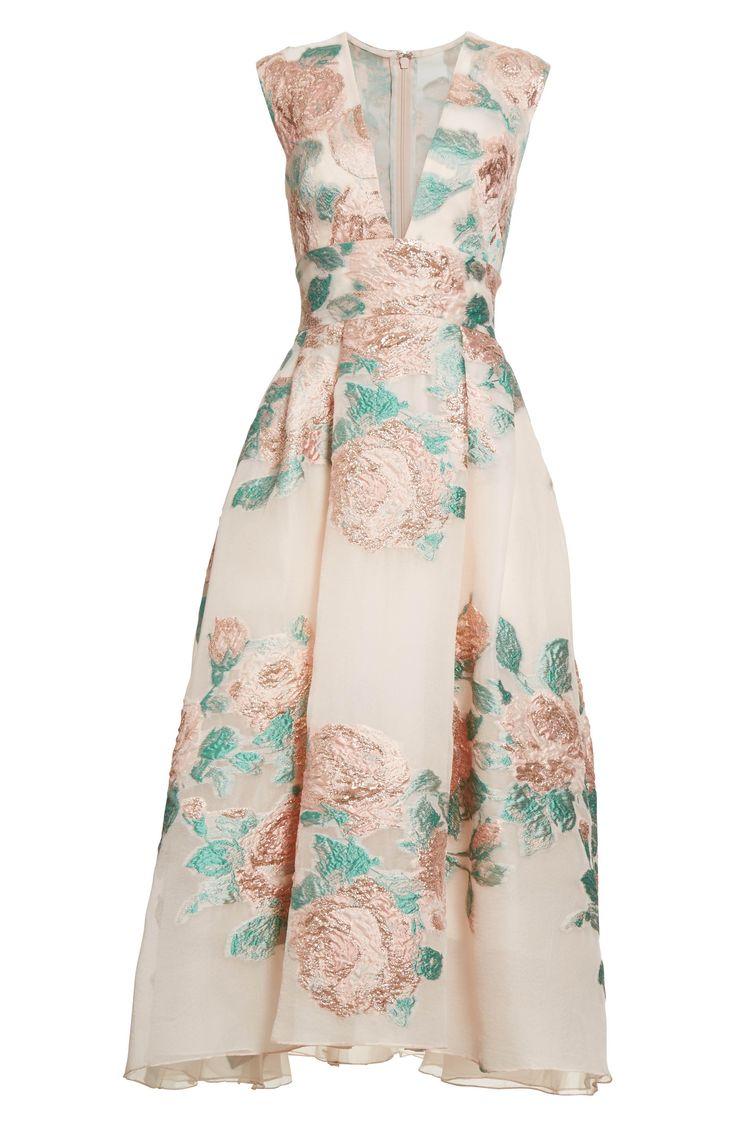 Main Image - Lela Rose Floral Jacquard Fil Coupé Dress