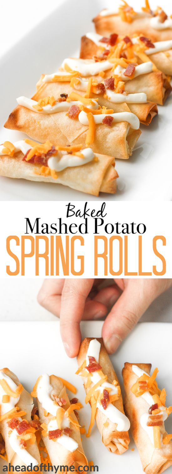 Baked mashed potato spring rolls combines the comforting flavours and textures of creamy mashed potatoes with a crisp crunchy layer of spring roll heaven. | aheadofthyme.com #Potatoes #CLVR #appetizers #vegetarian #potatoes #springrolls via @aheadofthyme