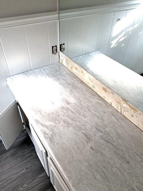 Blue Bathroom Gets A Makeover | Grey laminate, Formica ...