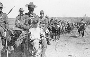 The 2nd Regiment, Canadian Mounted Rifles on patrol in South Africa, February – March 1902. Note the rather bedraggled appearance of some of the Stetsons, the Orndorff bandoliers, and Mark 1 Lee-Enfield rifles.
