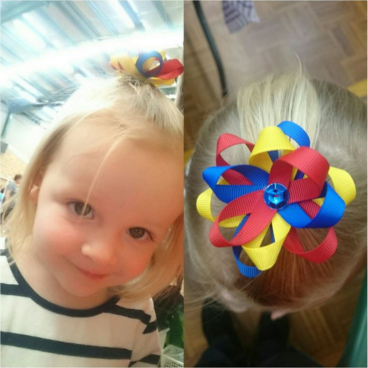Little H modelling one of my Adelaide Crows hair clips