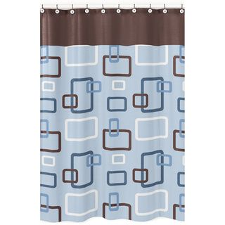 Blue And Brown Geo Shower Curtain | Overstock.com Shopping   The Best Deals  On