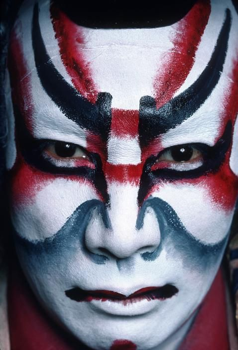 Ebizo, a famous Kabuki actor, in makeup for the character of Kagekiyo