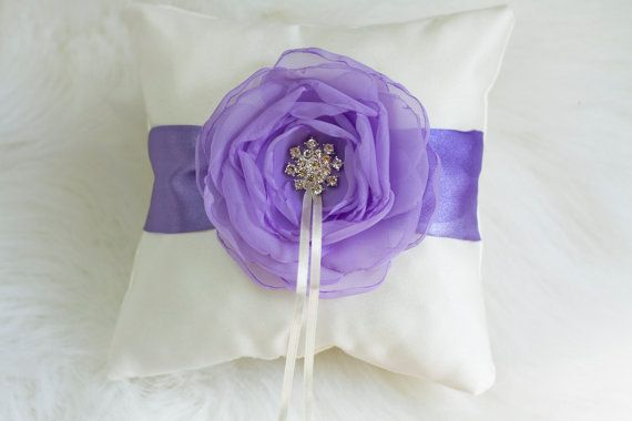 Ivory and Lilac Ring Bearer Pillow