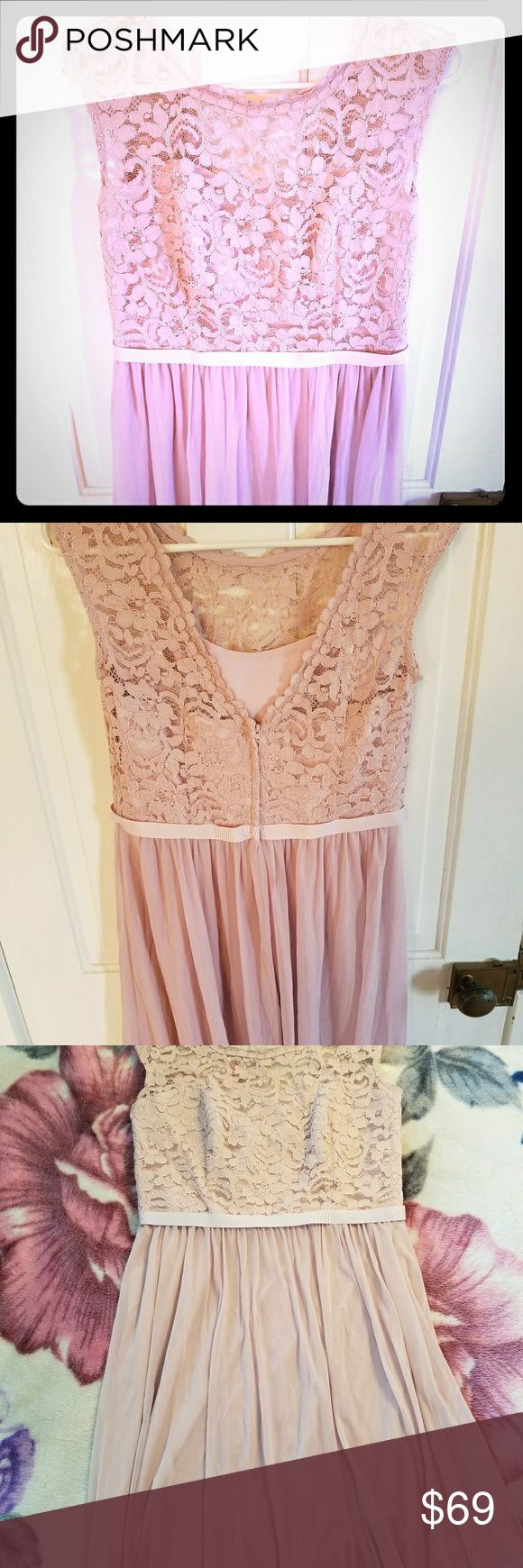 Lacy Cameo Bridesmaid Dress Delicate, feminine, flowy, lace detailed bridesmaid dress. Dusty rose/cameo color. Almost a greyish pink. Hits just above the knee. Only worn once. New with tags. David's Bridal Dresses Wedding