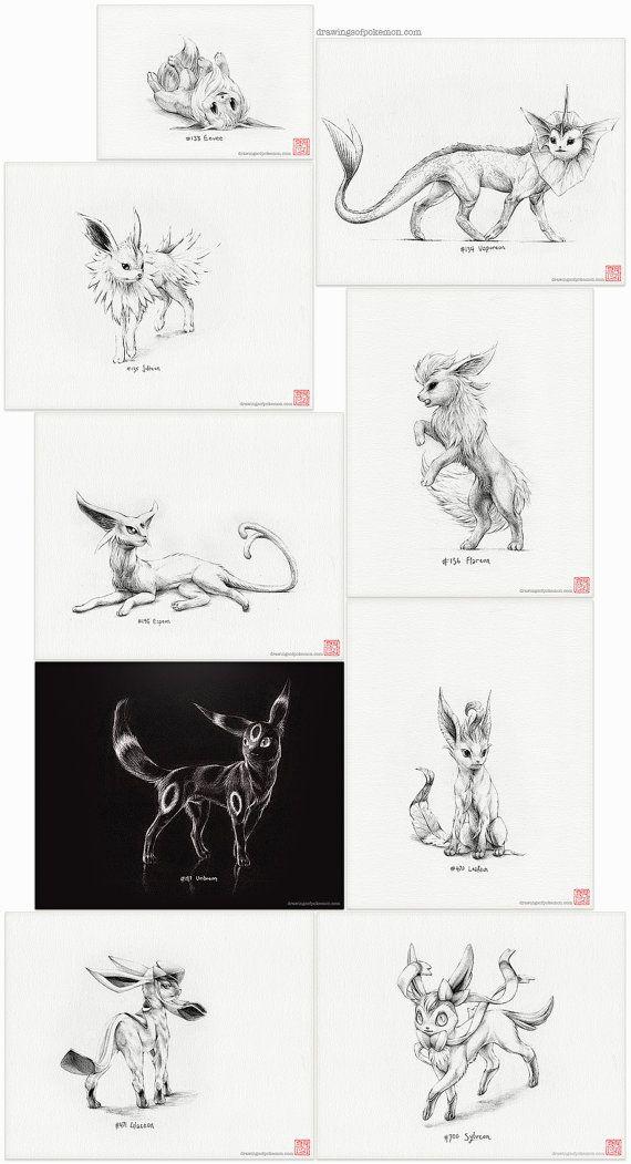 "Pokémon ""Eeveelutions"" - set of nine prints (pokemon drawing, art, artwork, gaming, nintendo, eevee)"
