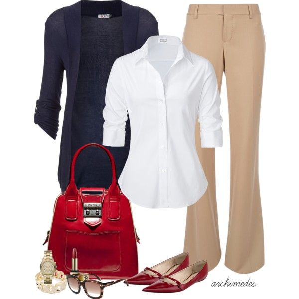 Work Outfit: Colors Combos, Khakis, White Buttons, Red Flats, Red Shoes, Pants, The Offices, Work Outfits, Business Casual