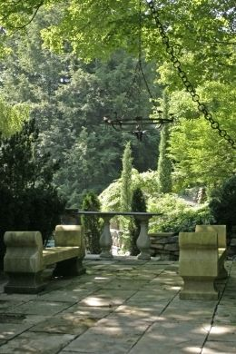 patio and garden designed by Michael TrappGardens Seats, Glorious Gardens, Stones Patios, Green Michael Trapp, Beautiful Landscapes, Trapp Gardens, Beautiful Gardens, West Cornwall, Backyards