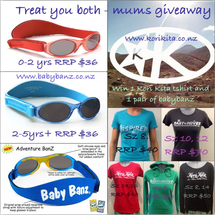 Enter to win: A Kori Kita Tshirt and Baby Banz sunglasses. | http://www.dango.co.nz/s.php?u=WfDMwdC61589