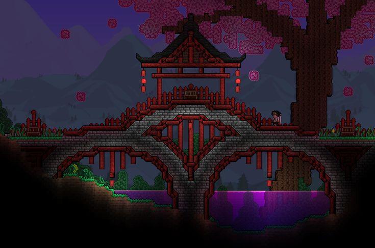 Minecraft Japanese Bridge terraria--japanese bridge | terraria and starbound | pinterest