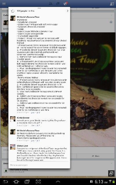 Mt Uncle's banana flour brownies (FB)