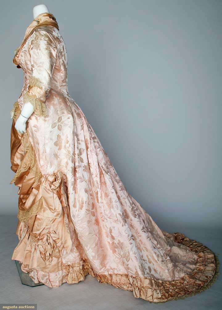 Pink Brocade Reception Gown Of One Piece, Long Fitted Bodice, Trained Skirt, Pink Satin And Valenciennes Lace Trim    c.1880's