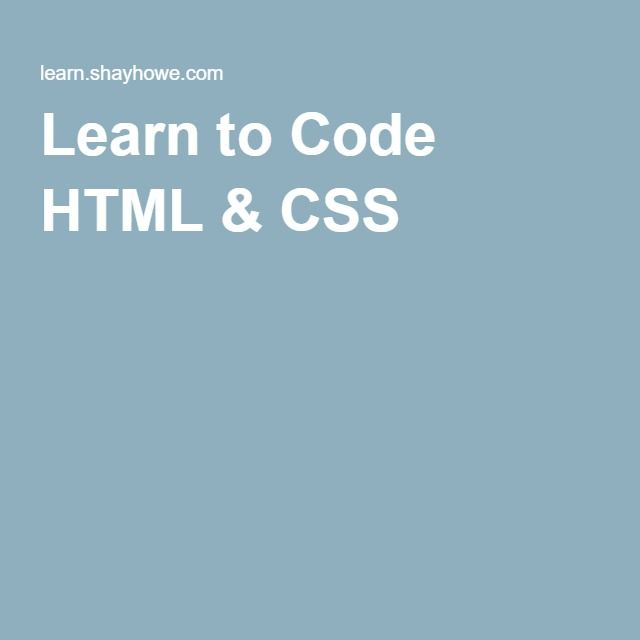 Learn to Code HTML & CSS