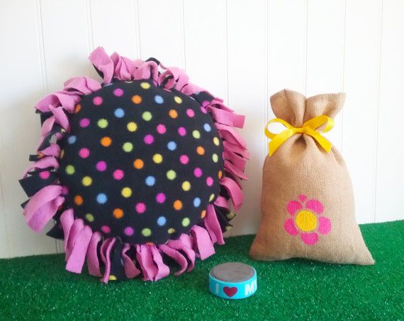 LOOTBAG  Fleece Tied Pillow Round polka dot kids by theLootBagBarn