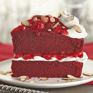 Duncan Hines Red Velvet Cake with red cherry pie filling creates a handsome and flavorful cake. Ice and garnish your Red Velvet Cherry Torte with toasted almond slivers.