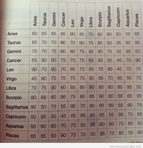 Star sign compatibility for love and friendship – percentages / Horoscope Cafe
