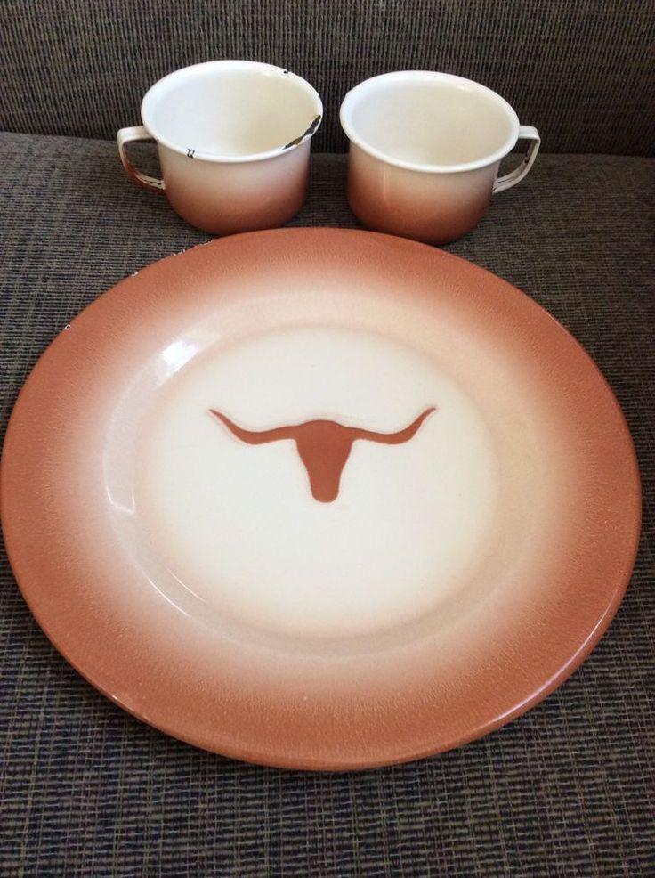 Vtg Enamelware Texas Longhorn Cow Plate Cups (2) White Orange Metal Graniteware   Collectibles, Kitchen & Home, Kitchenware   eBay!
