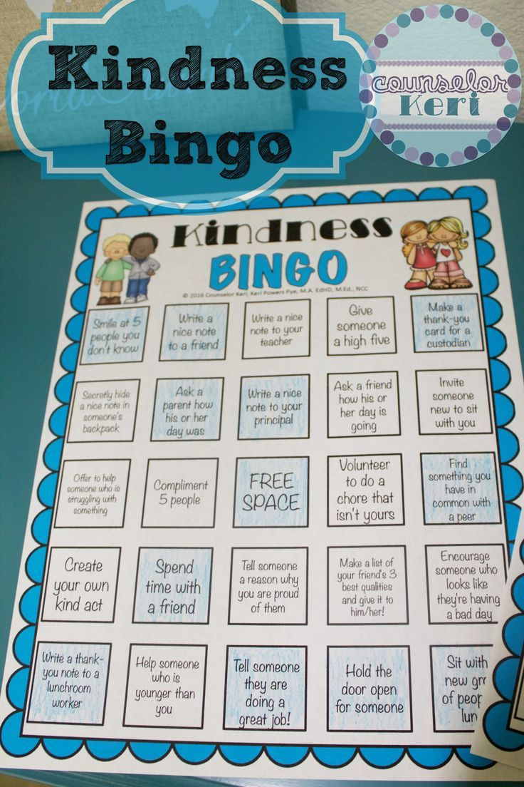 Free Kindness Bingo printables from Counselor Keri - 4 unique cards to encourage acts of kindness in your school!