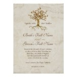 Swirl Tree Roots Antiqued Parchment Wedding Invites