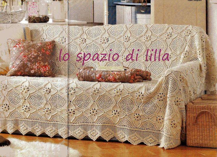 Hobby lavori femminili - ricamo - uncinetto - maglia: Schema uncinetto - Mattonella per copriletto