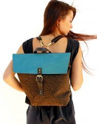 Tote brown cork and teal leather backpack