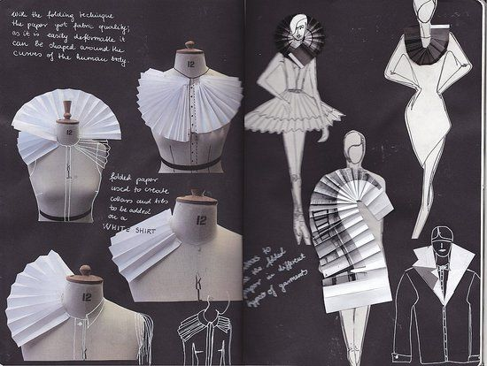 fashion design sketchbook with design drawings and fabric manipulation experimentation using paper fashion design development - Clothing Design Ideas