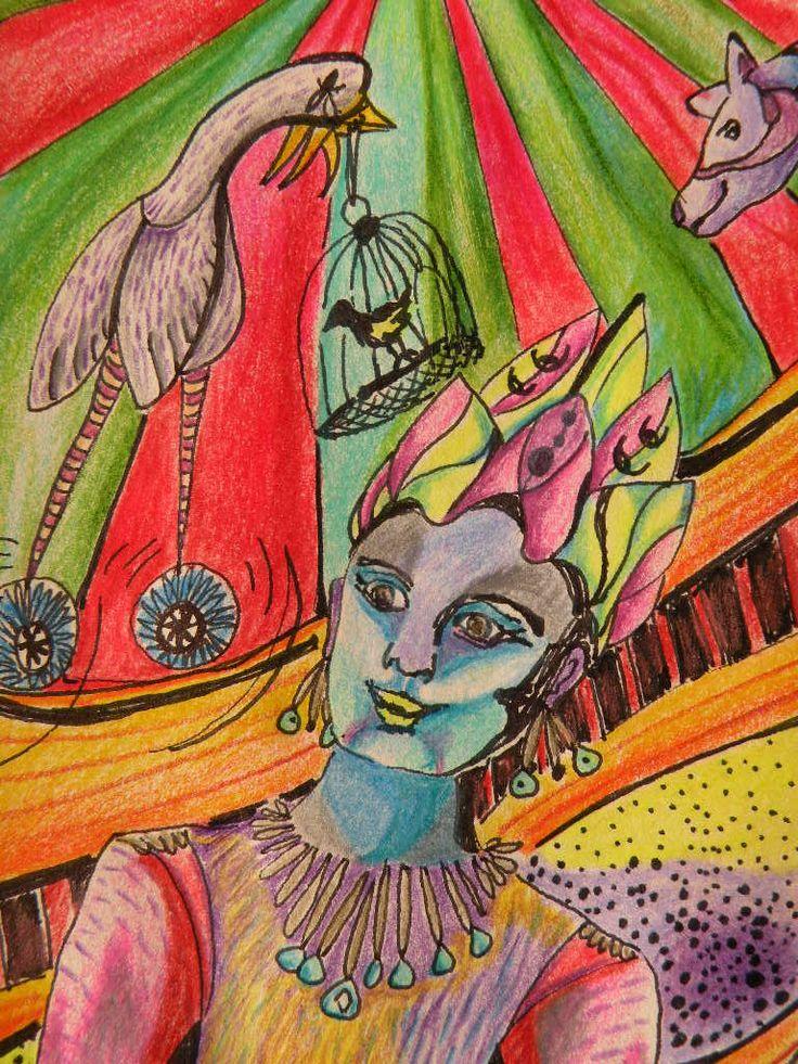 Dibujo lápices tinta, color y scripto.