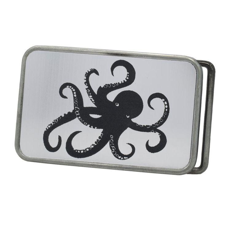Unisex Deep Sea Octopus Humor Rounded Rectangle Belt Buckle