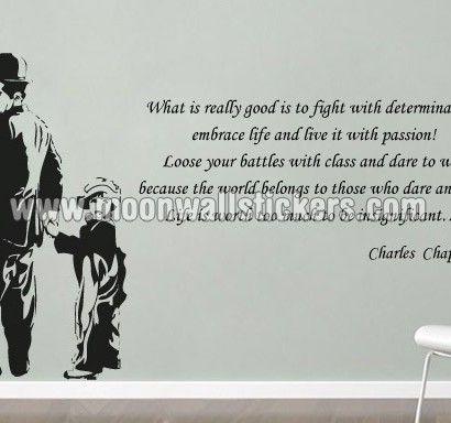 Charlie Chaplin Life Sticker   Moon Wall Stickers · Sayings ...