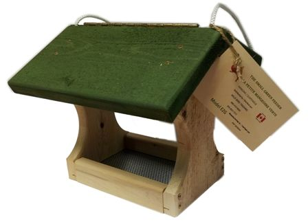 """EZG Small cedar EZ fill Flt Thru feeder with green stained roof. Made in Canada.  This feeder is easy to fill due to the hinged roof. Includes a galvanized screen tray for drainage and air flow.  Measures 11"""" x 10½"""" x 9½"""""""