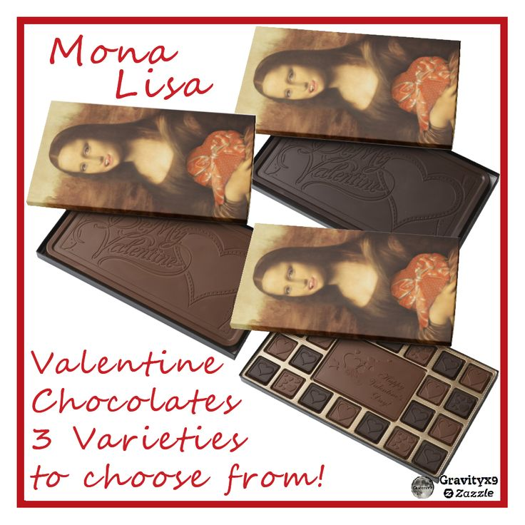 Mona Lisa loves getting heart shaped box of chocolates for Valentine's Day!   Chocolate Box Candy is available in three varieties!  ~~ #ValentineChocolates #valentine #ValentineCandy #ValentineGift #ValentinesDay #gravityx9 #zazzle #spoofingtheart