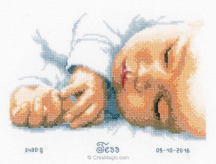 Kit tableau prénom Vervaco bébé endormi
