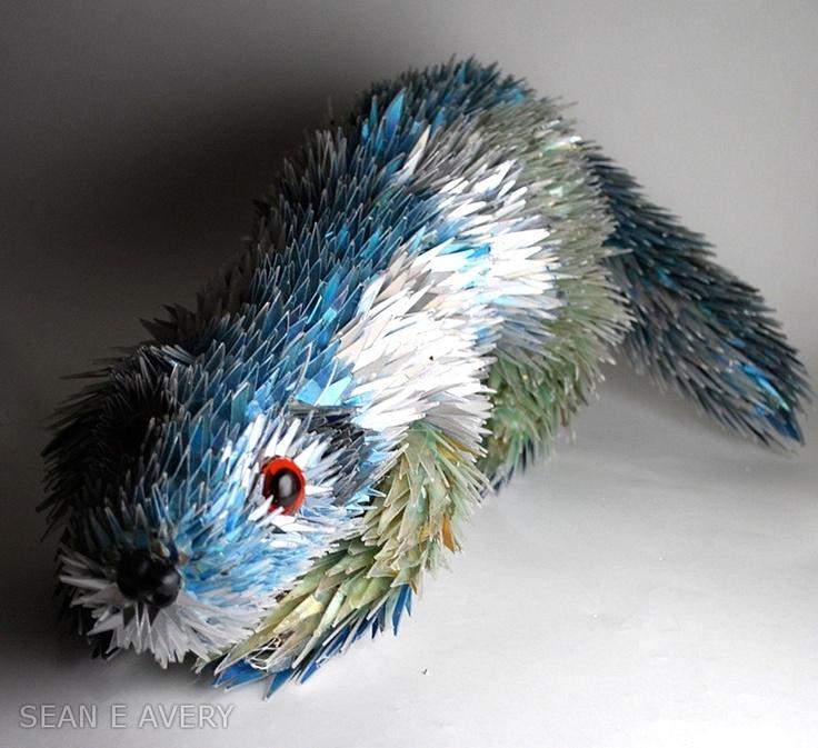 Otter!: Otters, Bored Pandas, Animal Sculptures, Little Animal, Sean Avery, Broken Cds, Shattered Cds, Old Cds, Artists Sean