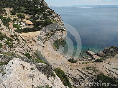 View from the cliffs above the archaeological site and museum at the Sanctuary of Heraion, near Perachora, on the Gulf of Corinth, Greece. Location of the ancient sanctuary and temple dedicated to the Greek goddess, Hera, wife of Zeus.