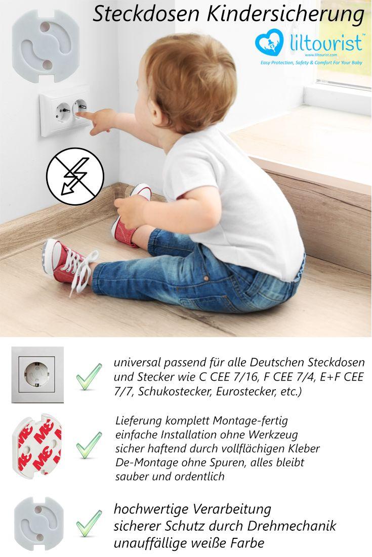Steckdosen Kindersicherung mit Drehmechanik, Steckdosenschutz inklusive Klebeband - liltourist