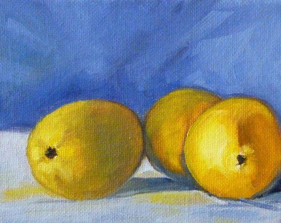 Lemon Still Life Painting, Little 4x5 Canvas, Blue and Yellow Kitchen Art, Wall Decor, Original Oil, Citrus Tropical Fruit Miniature