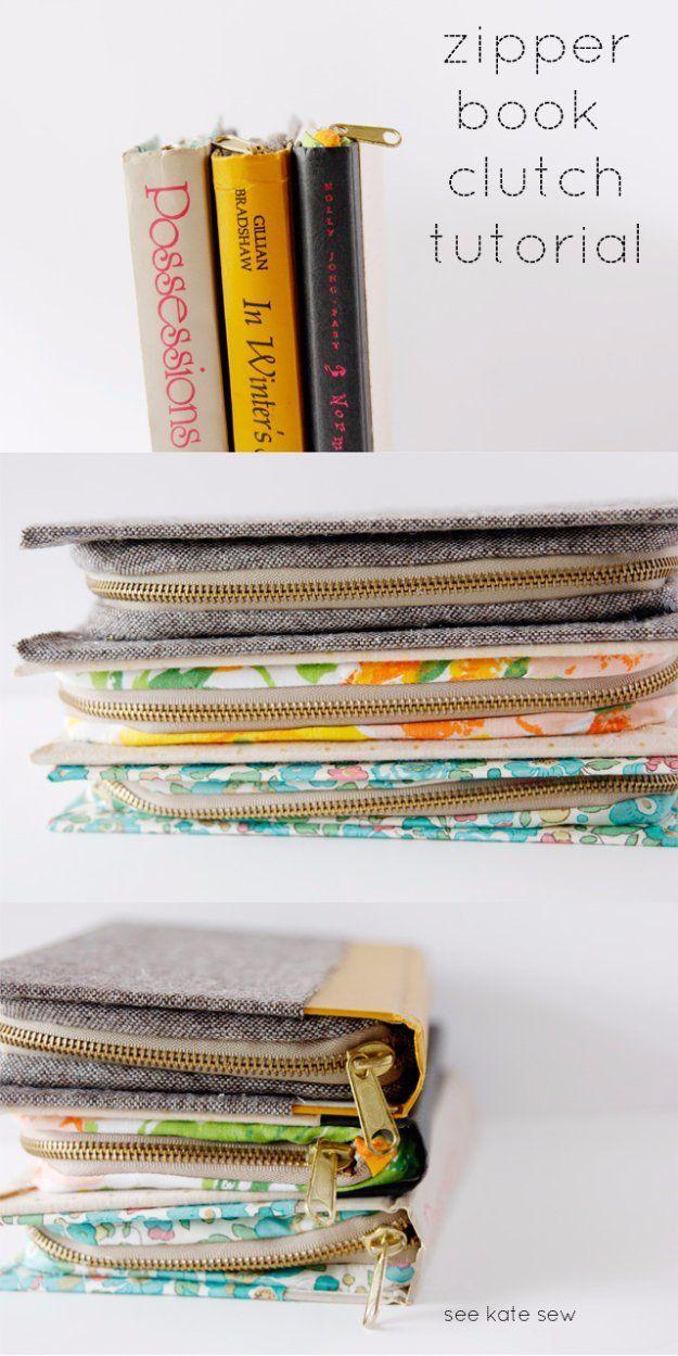 Fácil proyectos de costura para vender - Cremallera libro embrague - Ideas de…