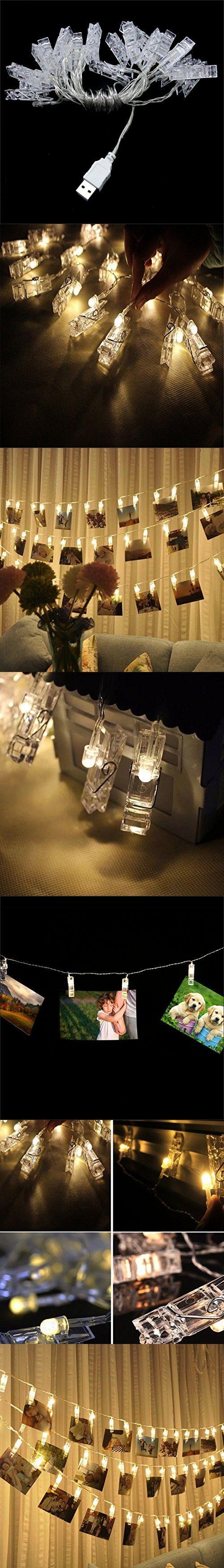 warmoor 20 photo clips string lights christmas lights 164 feet indooroutdoor usb - Usb Powered Christmas Lights